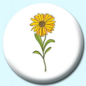 Personalised Badge: 75mm Calendula Flower Button Badge. Create your own custom badge - complete the form and we will create your personalised button badge for you.