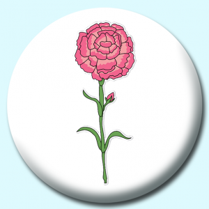 Personalised Badge: 38mm Carnation Flower Button Badge. Create your own custom badge - complete the form and we will create your personalised button badge for you.