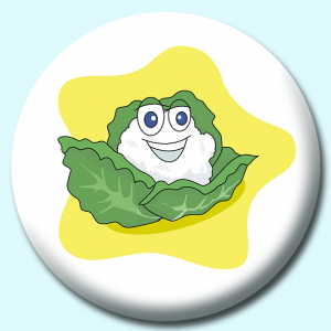 Personalised Badge: 75mm Cauliflower Character Button Badge. Create your own custom badge - complete the form and we will create your personalised button badge for you.