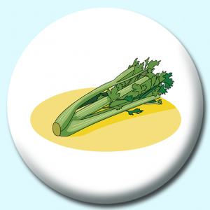 Personalised Badge: 58mm Celery Bunch Button Badge. Create your own custom badge - complete the form and we will create your personalised button badge for you.