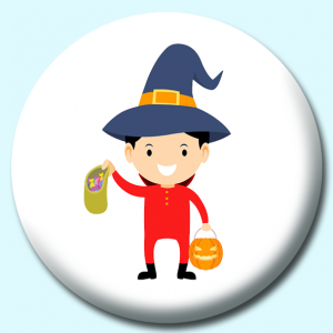 Personalised Badge: 75mm Child Wearing Costume Holding Bag Of Candy And Pumpkin Button Badge. Create your own custom badge - complete the form and we will create your personalised button badge for you.