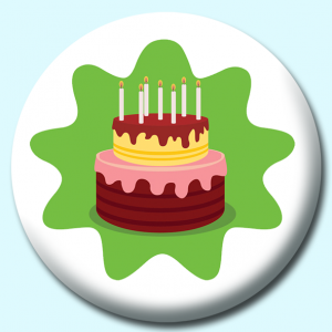 Personalised Badge: 58mm Chocolate Birthday Cake Button Badge. Create your own custom badge - complete the form and we will create your personalised button badge for you.