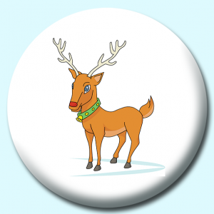 Personalised Badge: 75mm Christmas Reindeer Button Badge. Create your own custom badge - complete the form and we will create your personalised button badge for you.