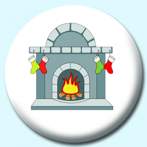Personalised Badge: 75mm Christmas Stocking Hanging On Fireplace Button Badge. Create your own custom badge - complete the form and we will create your personalised button badge for you.