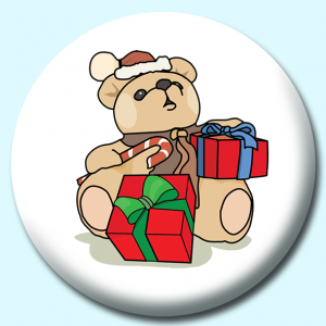 Personalised Badge: 75mm Christmas Teddy Bear With Gifts Button Badge. Create your own custom badge - complete the form and we will create your personalised button badge for you.