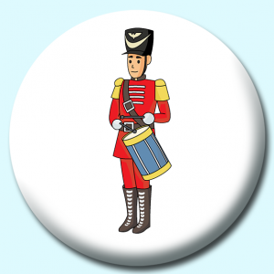 Personalised Badge: 75mm Christmas Toy Soldier Button Badge. Create your own custom badge - complete the form and we will create your personalised button badge for you.
