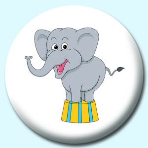 Personalised Badge: 58mm Circus Elephant Button Badge. Create your own custom badge - complete the form and we will create your personalised button badge for you.