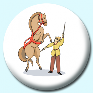 Personalised Badge: 38mm Circus Performer Button Badge. Create your own custom badge - complete the form and we will create your personalised button badge for you.