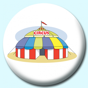 Personalised Badge: 38mm Circus Tent Button Badge. Create your own custom badge - complete the form and we will create your personalised button badge for you.