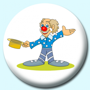 Personalised Badge: 38mm Clown Button Badge. Create your own custom badge - complete the form and we will create your personalised button badge for you.