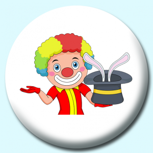 Personalised Badge: 38mm Clown Magician Button Badge. Create your own custom badge - complete the form and we will create your personalised button badge for you.