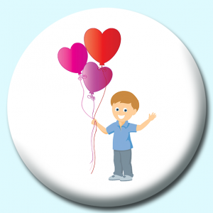 Personalised Badge: 75mm Colorful Heart Shaped Valentines Balloons Button Badge. Create your own custom badge - complete the form and we will create your personalised button badge for you.