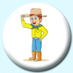 Personalised Badge: 58mm Cowboy Tipping Hat Sign Respect Button Badge. Create your own custom badge - complete the form and we will create your personalised button badge for you.
