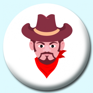 Personalised Badge: 25mm Cowboy Wearing Hat Button Badge. Create your own custom badge - complete the form and we will create your personalised button badge for you.