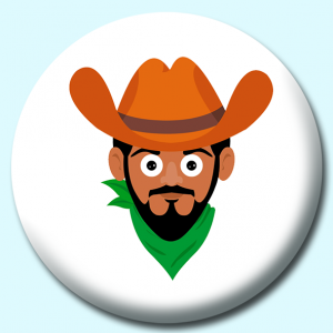 Personalised Badge: 58mm Cowboy With Beard Button Badge. Create your own custom badge - complete the form and we will create your personalised button badge for you.