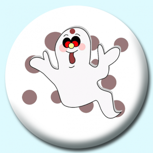 Personalised Badge: 75mm Cute Ghost Button Badge. Create your own custom badge - complete the form and we will create your personalised button badge for you.