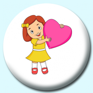 Personalised Badge: 75mm Cute Girl Holding A Large Pink Heart Button Badge. Create your own custom badge - complete the form and we will create your personalised button badge for you.