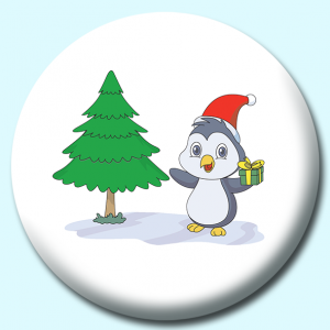 Personalised Badge: 75mm Cute Penguin Christmas Tree Gift Button Badge. Create your own custom badge - complete the form and we will create your personalised button badge for you.