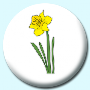 Personalised Badge: 75mm Daffodil Flower Button Badge. Create your own custom badge - complete the form and we will create your personalised button badge for you.