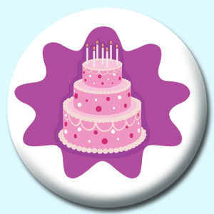 Personalised Badge: 58mm Decorated Birthday Cake Button Badge. Create your own custom badge - complete the form and we will create your personalised button badge for you.