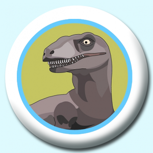 Personalised Badge: 75mm Dinosaur Button Badge. Create your own custom badge - complete the form and we will create your personalised button badge for you.
