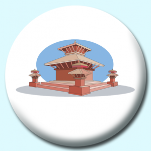 Personalised Badge: 58mm Durbar Square Nepal Button Badge. Create your own custom badge - complete the form and we will create your personalised button badge for you.