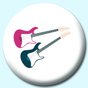Personalised Badge: 75mm Electric Guitars Two Colours Button Badge. Create your own custom badge - complete the form and we will create your personalised button badge for you.