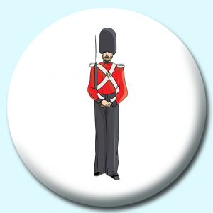 Personalised Badge: 38mm English Soldier Button Badge. Create your own custom badge - complete the form and we will create your personalised button badge for you.