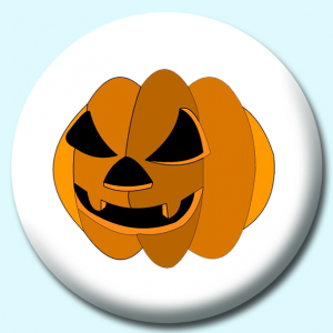 Personalised Badge: 75mm Evil Pumpkin Button Badge. Create your own custom badge - complete the form and we will create your personalised button badge for you.