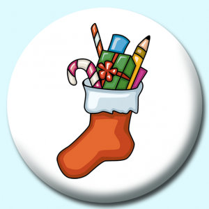 Personalised Badge: 75mm Filled Stocking Button Badge. Create your own custom badge - complete the form and we will create your personalised button badge for you.