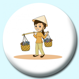 Personalised Badge: 38mm Florist Woman Going To Market Vietnam Button Badge. Create your own custom badge - complete the form and we will create your personalised button badge for you.