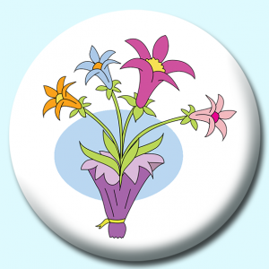 Personalised Badge: 75mm Flower Lilly Bouquet Button Badge. Create your own custom badge - complete the form and we will create your personalised button badge for you.