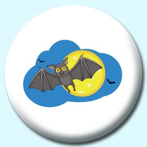 Personalised Badge: 75mm Flying Bat With Full Moon Button Badge. Create your own custom badge - complete the form and we will create your personalised button badge for you.
