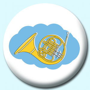 Personalised Badge: 58mm French Horn Brass Instrument Button Badge. Create your own custom badge - complete the form and we will create your personalised button badge for you.