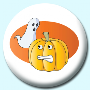 Personalised Badge: 75mm Ghost Pumpkin Halloween Button Badge. Create your own custom badge - complete the form and we will create your personalised button badge for you.