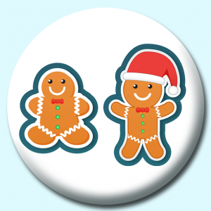 Personalised Badge: 75mm Ginger Bread Character Button Badge. Create your own custom badge - complete the form and we will create your personalised button badge for you.