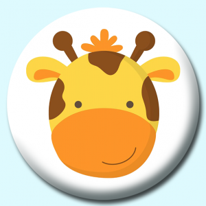 Personalised Badge: 38mm Giraffe Button Badge. Create your own custom badge - complete the form and we will create your personalised button badge for you.