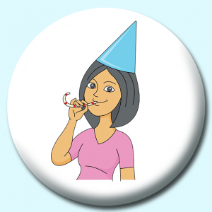 Personalised Badge: 58mm Girl Celebrating Birthday Wearing Hat Button Badge. Create your own custom badge - complete the form and we will create your personalised button badge for you.