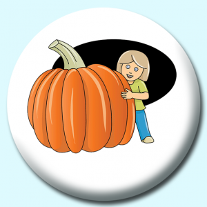 Personalised Badge: 58mm Girl Hiding Behind Pumpkin Button Badge. Create your own custom badge - complete the form and we will create your personalised button badge for you.