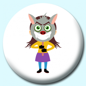 Personalised Badge: 58mm Girl Holding Scary Mask In Front Of Face Button Badge. Create your own custom badge - complete the form and we will create your personalised button badge for you.
