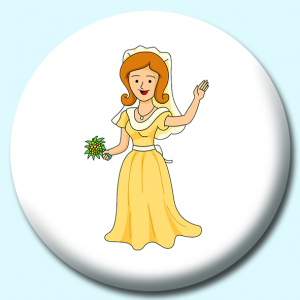 Personalised Badge: 75mm Girl In Wedding Dress Smiling Waving Button Badge. Create your own custom badge - complete the form and we will create your personalised button badge for you.
