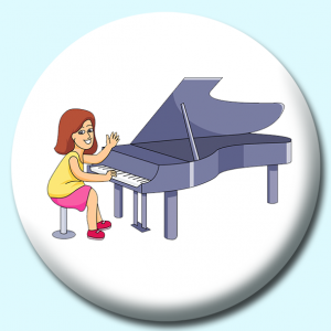 Personalised Badge: 75mm Girl Playing Piano Button Badge. Create your own custom badge - complete the form and we will create your personalised button badge for you.