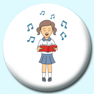 Personalised Badge: 38mm Girl Singing From Hymn Book Button Badge. Create your own custom badge - complete the form and we will create your personalised button badge for you.