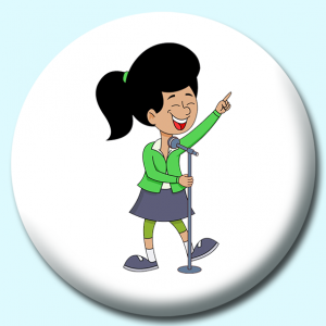 Personalised Badge: 58mm Girl Singing Into Microphone Pointing Finger Up Button Badge. Create your own custom badge - complete the form and we will create your personalised button badge for you.