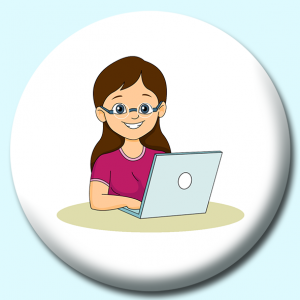 Personalised Badge: 58mm Girl Student Button Badge. Create your own custom badge - complete the form and we will create your personalised button badge for you.