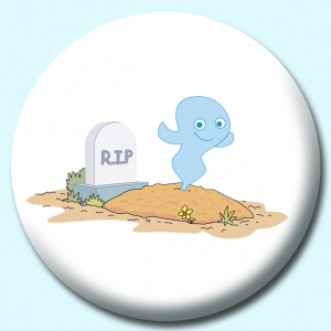 Personalised Badge: 75mm Grave Site With Ghost Button Badge. Create your own custom badge - complete the form and we will create your personalised button badge for you.