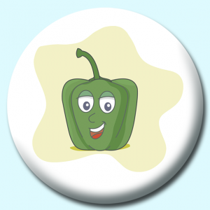 Personalised Badge: 75mm Green Pepper Cartoon Button Badge. Create your own custom badge - complete the form and we will create your personalised button badge for you.