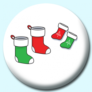 Personalised Badge: 75mm Green Red Christmas Stockings Button Badge. Create your own custom badge - complete the form and we will create your personalised button badge for you.