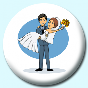 Personalised Badge: 58mm Groom Holding Bride Button Badge. Create your own custom badge - complete the form and we will create your personalised button badge for you.
