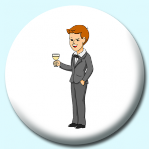 Personalised Badge: 75mm Groom In Tuxedo Preparing To Give A Toast Button Badge. Create your own custom badge - complete the form and we will create your personalised button badge for you.
